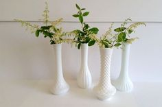 Vintage Lot of 4 Milk Glass Vases Shabby by RelsFindsNapaValley