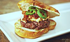 Bacon, Pimento Cheese and Jalapeno Burger- an ingredient match made in heaven. Healthy Grilling Recipes, Tailgating Recipes, Burger Recipes, Meat Recipes, Paleo Recipes, Low Carb Recipes, Side Dishes Easy, Side Dish Recipes, Jalapeno Burger