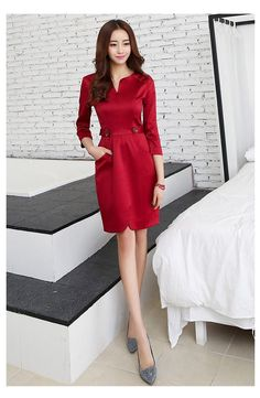 New Arrivals : Midi Elegant Evening Korean Dress YRB0707