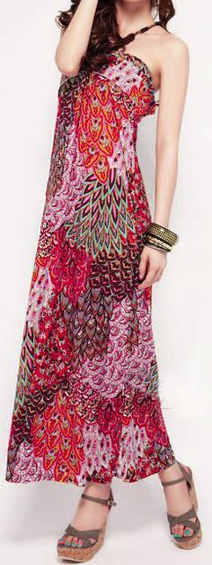 Peacock Red Multicolored Maxi Dress