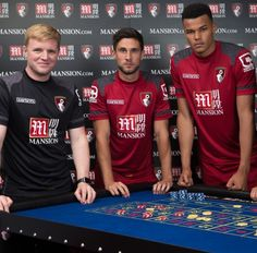 Newly promoted AFC Bournemouth have announced that Gibraltar based Mansion Group will be their shirt sponsors for the upcoming Premier League season. The Cherries secured a shock promotion to the t… Soccer Shirts, Sports Shirts, Football Kits, Football Players, Premier League, Afc Bournemouth, Leather Passport Wallet, Manchester City, Cherries