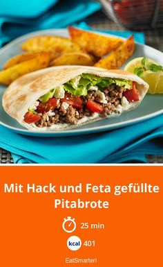 Pita breads filled with mince and feta - smarter - calories: kcal - time: 2 . - Pita bread filled with mince and feta – smarter – calories: kcal – time: 25 min. Quick Hamburger, Hamburger Meat Recipes, Sausage Recipes, Pain Pita, Queso Feta, Carne Picada, Pita Bread, Spaghetti Recipes, Cauliflower Recipes