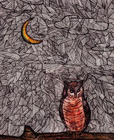 Owl and the Moon Art Print
