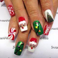 christmas nails. santa, peppermint, snowflakes, lights, and christmas trees!