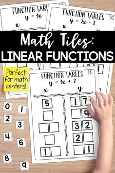 This set of math tiles for function tables is a hands-on activity the provides students with an engaging way to work with linear functions. Activate critical thinking and problem-solving skills and develop algebraic reasoning.  I love using this for math centers. 8th Grade Math, Sixth Grade, Grade 1, Teaching Resources, Teaching Materials, Teaching Ideas, Math Classroom, Maths, Teaching Critical Thinking