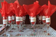 Champagne glasses for everyone for this murder mystery party!