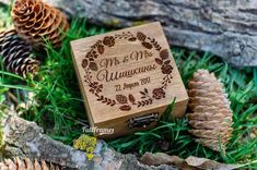 Wooden Wedding Ring Box with Wreath of Pine Cones and Flowers / Ring Box Wood / Custom Wooden Ring Box with Green Moss Inside Wooden Ring Box, Wooden Rings, Wedding Ring Box, Wedding Day, Personalised Box, Pine Cones, Place Card Holders, Wreaths, Flowers