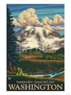 Paradise Inn, Mt. Rainier National Park, Washington Art Print by Lantern Press at Art.com