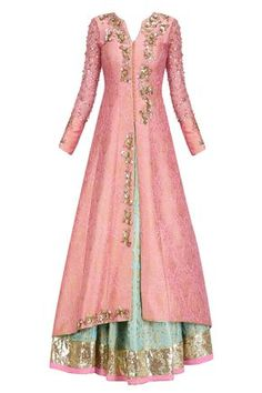 Turquoise blue handwoven brocade lehenga with peach embroidered jacket available only at Pernia's Pop Up Shop.