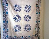 Vintage 1970s floral white and blue tablecloth,  made in Germany