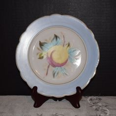 Blue Georgia Peach Salad Plate Vintage by ShellysSelectSalvage