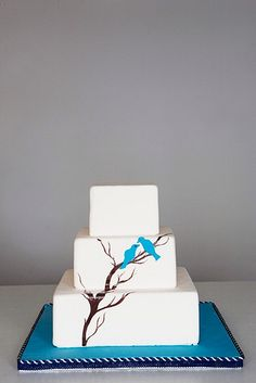 Would look awesome on a white pedistal or tree cake stand.  This one is too big.  @Alex Jones Jones Jones Jones McVarish Nicole - Love Birds hand painted cake from Ayoma Cakes