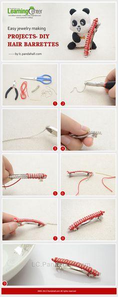 DIY Girls Sparkling Hair Barrettes with Rhinestone Chain