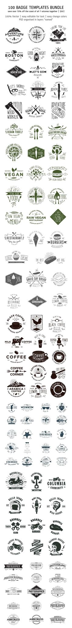 100 Badge Templates Bundle by alit_design on Creative Market
