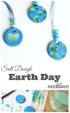 This Salt Dough Earth Day Necklace Craft is a great activity for elementary kids! A fun activity to add to any Earth Day unit! #EarthDayCrafts #SaltDoughCrafts #EarthCrafts