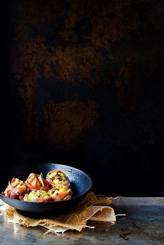 ♂ Dark background Food styling photography still life - Roasted Figs with Prosciutto