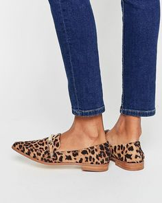 asos leopard print loafers