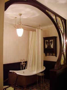 Art Nouveau bathroom - love the screen