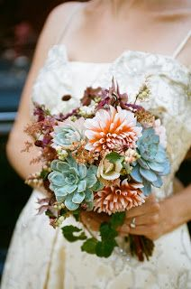 dahlia and succulent wedding flowers