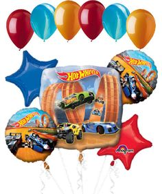 "Included in this bouquet: 11 Balloons Total 1 - 28"" ""Hot Wheels"" Square Balloon 2 - 18"" ""Hot Wheels"" Round Balloons 1 - 18"" Blue Star Balloon 1 - 18"" Red Star Balloon 6 - 12"" Solid Colored Balloons (2"