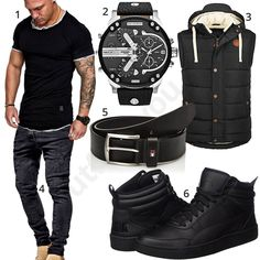 Schwarzer Herren-Style mit Amaci&Sons Shirt, Diesel XXL-Chronograph, Tommy Hilfiger Gürtel, Blend Weste, Puma High-Top Schuhen und MT Styles Jeans.
