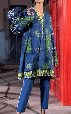 Lawn Suits, Famous Brands, Kurti, Royal Blue, Sapphire, Kimono Top, Cotton, Clothes, Tops