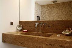 Réalisation Capri: plan vasque sur mesure meridian noisette