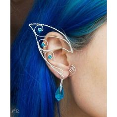 Elven/Elf Ear Cuffs/Wraps - Turqoise stars-Silver plated | 1 |... ❤ liked on Polyvore featuring jewelry, bracelets, silver plating jewelry, wrap jewelry, ear cuff jewelry, ear cuff wrap jewelry and star bangle