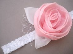 """This flower is about 2"""" and is attached to 1/2"""" wide elastic lace.   For the best fit, measure the head where the headband will be, then let us know.  If you would like to follow our general sizing, you can use these measurements: Newborns/0-3 months - 13"""" Infant/4-12 months - 14.5"""" Toddler - 16"""" Girls-Adults - 18"""""""