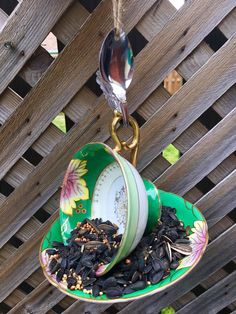 Your place to buy and sell all things handmade Garden Bird Feeders, How To Attract Birds, Perfect Gift For Her, Garden Ornaments, Vintage China, Teacup, Shades Of Green, Garden Art, Spoon