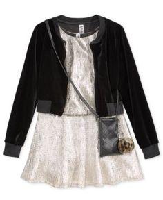 Beautees 3-Pc. Velvet Bomber Jacket, Dress & Purse Set, Big Girls (7-16) - Silver 14