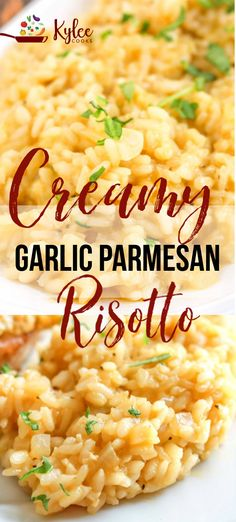 "Creamy Garlic Parmesan Risotto Creamy Garlic Parmesan Risotto Risotto in minutes? This Garlic Parmesan Risotto Recipe may be the star of the show we call ""dinner"" in this easy side – it's sure to please the whole family! Parmesan Risotto, Garlic Parmesan, Tomato Risotto, Mushroom Risotto, Rice Dishes, Food Dishes, Main Dishes, Vegetarian Recipes, Cooking Recipes"