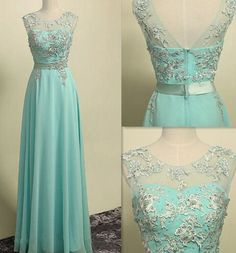 Mint Green Chiffon Long Prom Dress