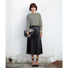 Black Pleated Leather Maxi Skirt #AW16 @ ShanghaiTrends.co.uk