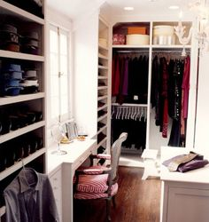 closet ideas with chandelier | Small walk-in closet with vanity, window and built-in storage spaces