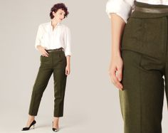 80s Army Green High Waisted Trousers / Dark Green Pleated Wool Pants / Leather Wide Waistband Minimalist Elegant Small Trouser Pants