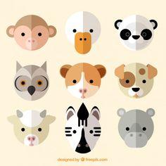 Nice animal avatar collection in flat design Design Plat, Flat Design, Dog Design, Face Illustration, Cartoon Design, Animal Faces, Animal Drawings, Animal Illustrations, Geometric Art