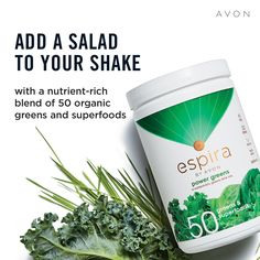 Not getting enough greens in your diet? How about trying Espira Power Greens? Add a salad to your shake! The low-calorie, nutrient-rich power blend of greens and superfoods contains vitamins, minerals, and antioxidants that help your health. Go Green, Superfoods, Shop 24, Live Probiotics, Online Shopping, Avon Representative, Vitamins And Minerals, Medium, Get Healthy