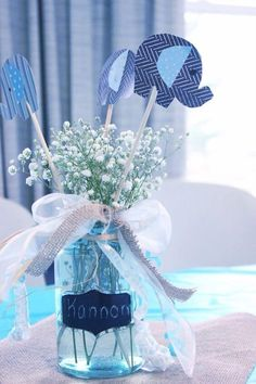 Baby's Breath Elephant Centerpiece Idea For A Baby Shower