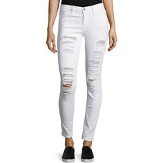 FRAME Le Color Rip Skinny Distressed Jeans ($210) ❤ liked on Polyvore featuring jeans, cream, mid rise skinny jeans, cuffing skinny jeans, ripped skinny jeans, destroyed jeans and mid-rise jeans