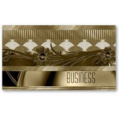 Business Card Cream Old Gold Floral Art Deco
