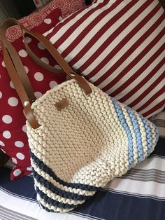 Pouch Bag, Tote Bag, Crochet Tote, Handmade Handbags, Garter Stitch, Knitted Bags, Lucca, Craft Fairs, Marines