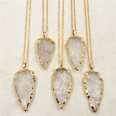 """WT-N791 Exclusive 2"""" Big Stone Necklace natural stone arrowhead pendant with 24k gold strim stone necklace jewelry #Affiliate"""