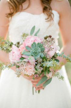 pink and succulent wedding bouquet by Amy Lynne Originals http://www.weddingchicks.com/2013/09/10/pink-and-gold-wedding-ideas/