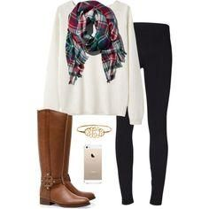 oversized sweater, plaid blanket scarf, leggings, & tory burch boots, literal outfit goals.