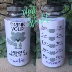 Raccoon motivational water bottle with hourly time tracker