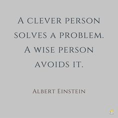 A clever person solves a problem. A wise person avoids it.  Albert Einstein