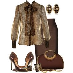 A fashion look from August 2014 featuring puff sleeve shirt, knee length pencil skirts and bronze evening shoes. Browse and shop related looks. Winter Work Fashion, Look Fashion, Autumn Fashion, Luxury Fashion, Fashion Outfits, Womens Fashion, Fashion Trends, Fashion Beauty, Classy Outfits