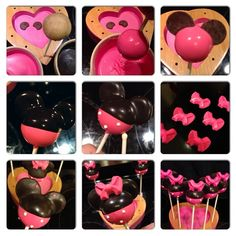 "933 Likes, 60 Comments - Jo💋 (@cakepoppn) on Instagram: ""How to Minnie! This is how I make my Minnie's... 1. Start with naked cake pop, 2 colors of dipping…"""