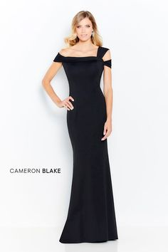 Cameron Blake Off-the-shoulder heavy jersey trumpet gown, pleated asymmetric neckline, natural waistline, slim through the hip with flared hemline. Cameron Blake, Mon Cheri Bridal, Trumpet Gown, Bride Gowns, Mothers Dresses, Groom Dress, Formal Gowns, Designer Wedding Dresses, Special Occasion Dresses